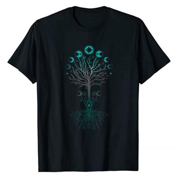 Pagan and Wicca Shirts, christine-krahl Graphic Tshirt 1 Moon Phases Tree of Life - Yggdrasil - Viking Pagan Wicca T-Shirt