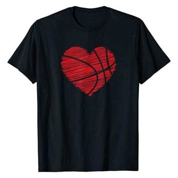 February Basketball Love Valentines Day Shirts Graphic Tshirt 1 Love Valentines Day Basketball Tshirt Art - Scribble Heart T-Shirt