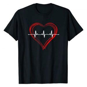 Nurse Nursing Gifts Tees For Women Girls Graphic Tshirt 1 EKG Heartbeat Love Cardiogram T-Shirt Hollow ECG Heart
