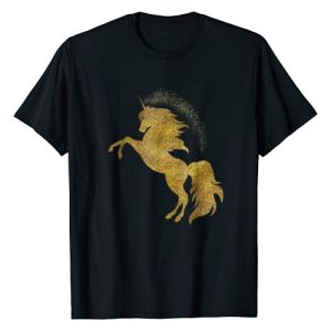 LisaShops Tees Graphic Tshirt 1 Golden Cute Glitter Beautiful Unicorn T Shirt Gold Tee