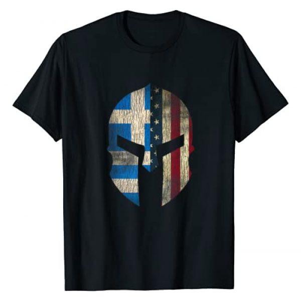 American Pride Spartan Helmet Mens Graphic Tshirt 1 Greek American Pride - Greece Spartan Helmet T-Shirt