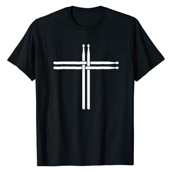 Drumms Tees Graphic Tshirt 1 Christian Drum Stick Cross TShirt Funny Drummer T-Shirt