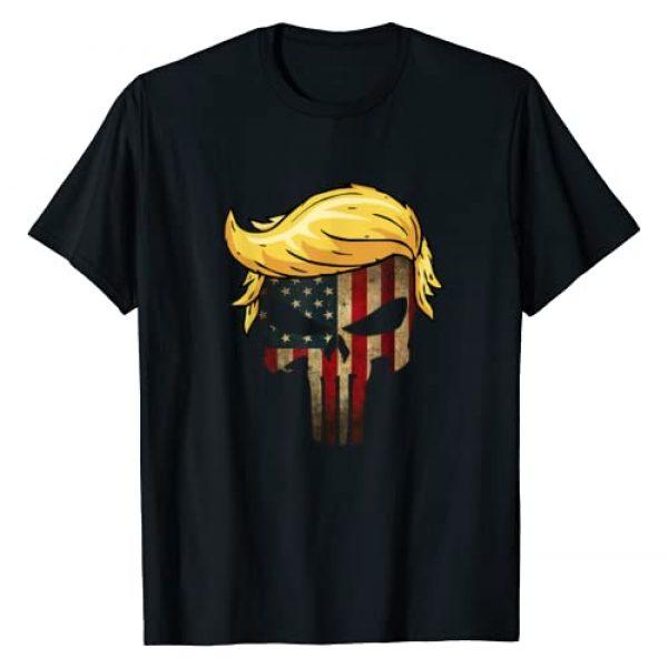 Trump Hair Skull Shirt - 4th of july US Flag Gift Graphic Tshirt 1 Trump Hair Skull Shirt - 4th of july US Flag Trump Gift T-Shirt