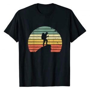 Vintage Retro Hiking Apparel Graphic Tshirt 1 Vintage Hiking T Shirt Hiker on Rock Retro Sunset Silhouette T-Shirt