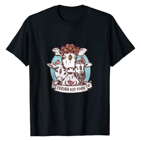 Vegetarian Tshirts Gifts Graphic Tshirt 1 Animals are Friends not Food Pig Cow Sheep Vegan Vegetarian T-Shirt