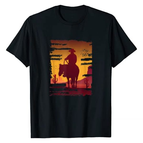 Retro Vintage Cowboy Gift design By Inoashop Graphic Tshirt 1 Saddle western cowboy print Retro Vintage Western Sunset T-Shirt