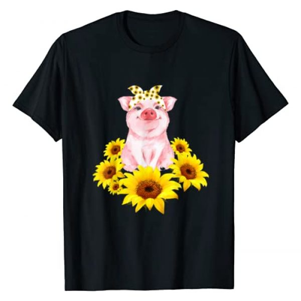 Lovely Piggy Sunflower Apparel Graphic Tshirt 1 Cute Piggy With Sunflower Tiny Pig With Bandana T-Shirt
