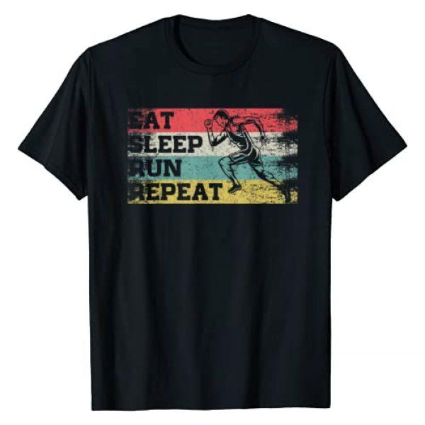 Running Lover Gifts Graphic Tshirt 1 Vintage Retro Eat Sleep Run Repeat Funny Running Runner Gift T-Shirt