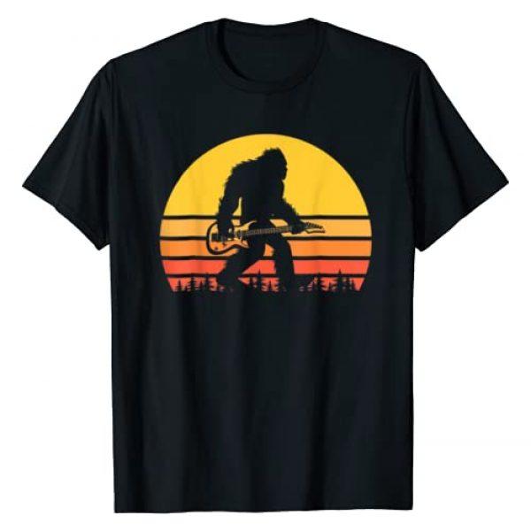 Vintage Bigfoot Guitar Gift Shirt Graphic Tshirt 1 Retro Bigfoot Guitar T-Shirt, Vintage Sasquatch Rocker T-Shirt
