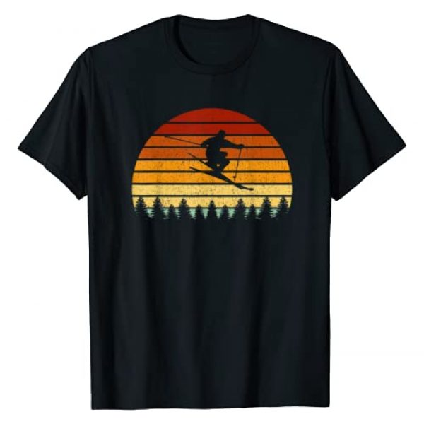 Retro Skier Gift Ideas Graphic Tshirt 1 Vintage Sunset Skiing Gift For Skiers T-Shirt