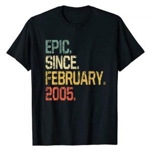 February 2005 Tee Shirts 15th Birthday Gifts Graphic Tshirt 1 15 Years Old Shirt Gift- Epic Since February 2005 T-Shirt