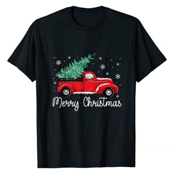 Magicart Christmas Gifts TEE Graphic Tshirt 1 Vintage Red Truck With Merry Christmas Tree T-Shirt