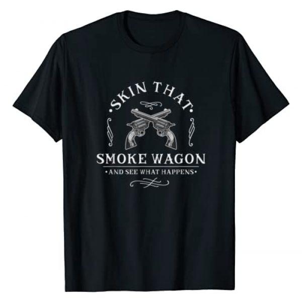 Skin that Smoke Wagon And See Western Distressed Graphic Tshirt 1 Skin that Smoke Wagon Western Distressed Revolver Cowboy T-Shirt