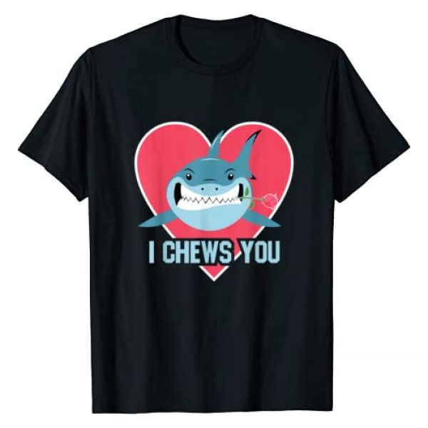 BCC Couple Shirts Valentine's Day Gifts Graphic Tshirt 1 I Chews You Shark Cupid With Rose Sharks Valentines Day Gift T-Shirt