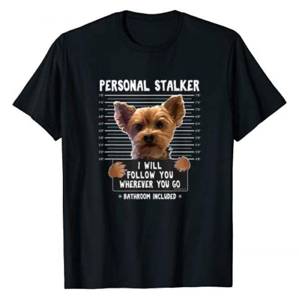 Funny Dog Jail Mugshot Tees Graphic Tshirt 1 Personal Stalker I'll Follow You Wherever You Go Yorkie T-Shirt