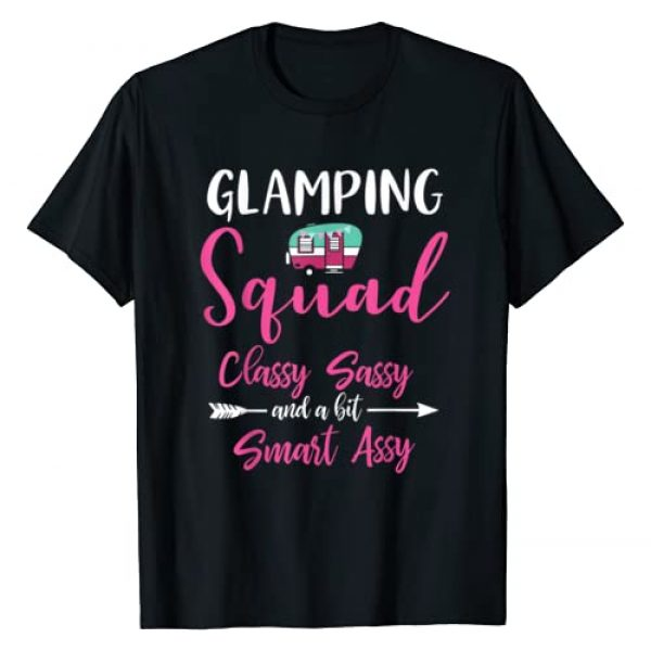 Camper Queen Funny Camping Gift Glamping Shirts Graphic Tshirt 1 Glamping Squad Funny Matching Family Girls Camping Trip T-Shirt