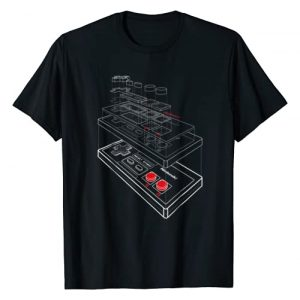 Nintendo Graphic Tshirt 1 NES Controller Exploded Schematic Graphic T-Shirt
