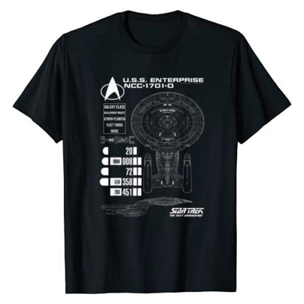STAR TREK Graphic Tshirt 1 Next Generation Enterprise Chart T-Shirt