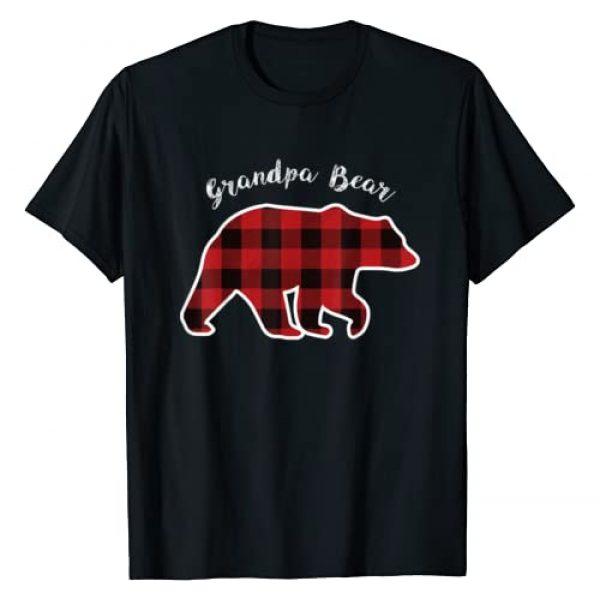 Matching Christmas Family Buffalo Gingham Shirt Graphic Tshirt 1 GRANDPA BEAR | Men Red Plaid Christmas Pajama Family Gift T-Shirt