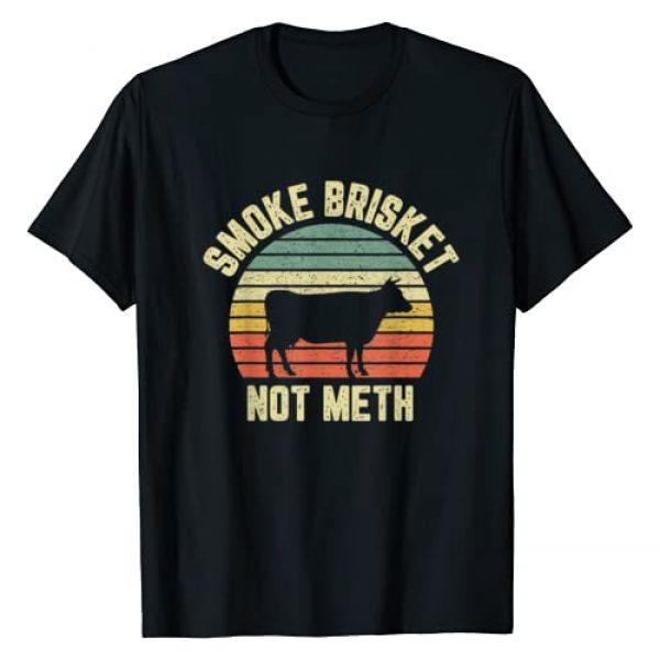 Funny BBQ Smoker Grilling Pit Apparel Graphic Tshirt 1 Funny BBQ Shirt Smoke Brisket Not Meth Novelty Grilling T-Shirt