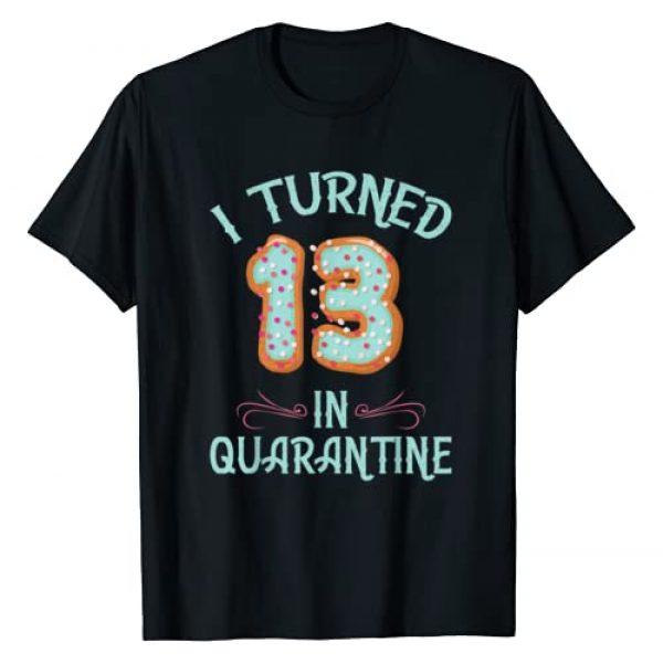 Donut birthday Gift Tee Apparel Graphic Tshirt 1 Donut Birthday Shirt Girls - I Turned 13 in Quarantine Retro T-Shirt