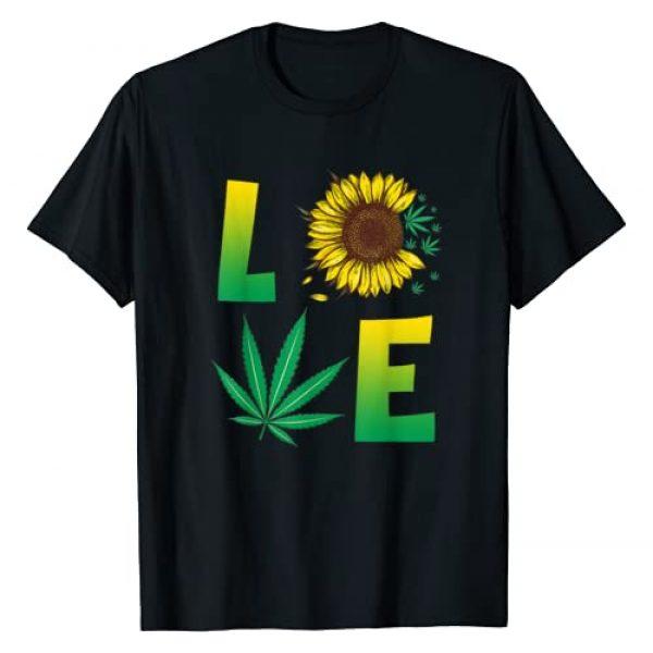 Funny Weed Sunflower Marijuana Smoking Men Women Graphic Tshirt 1 Sunflower & Cannabis LOVE Marijuana Weed Gift Women Men T-Shirt