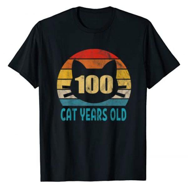 Blinkies Cat Imprints Graphic Tshirt 1 100 Cat Years Old Shirt Retro 21st Birthday Gift Cat Lovers T-Shirt