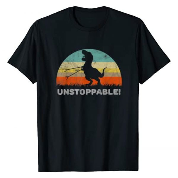 Funny Gifts For T Rex Lovers Graphic Tshirt 1 Unstoppable T Rex With Trash Grabber Pickup Tool Funny T-Shirt