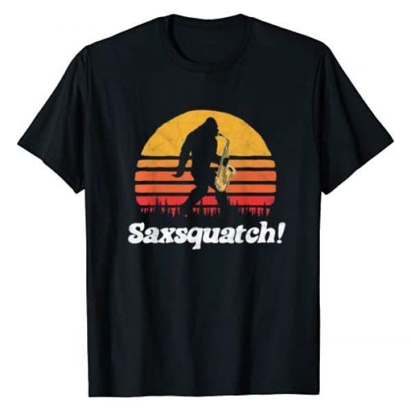 Bigfoot UFO Believer 2001 Tees Graphic Tshirt 1 Saxsquatch! Funny Bigfoot Saxophone Retro Sun Graphic T-Shirt