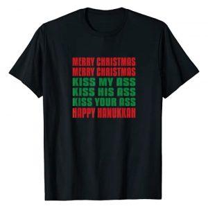 Merry Christmas Kiss My Ass Designs Graphic Tshirt 1 Merry Christmas Kiss My Ass Funny Hanukkah T-Shirt