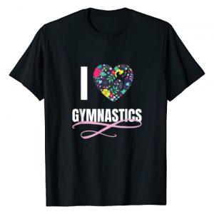UAB KIDKIS Graphic Tshirt 1 I Love Gymnastics Flower Heart Shape Girls Gift T-Shirt