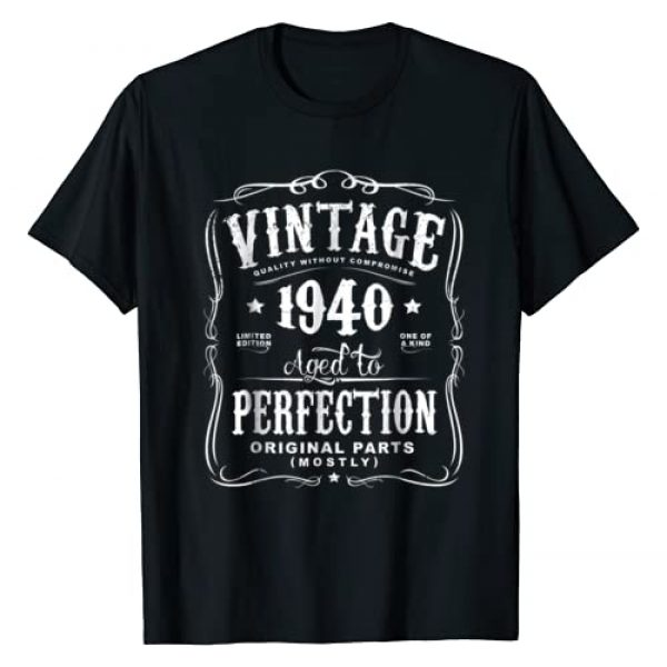 AGED TO PERFECTION Graphic Tshirt 1 Vintage Made In 1940 T-Shirt 78th Birthday Gift