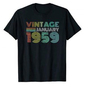 Old school 1959 January Vintage Tees Graphic Tshirt 1 Vintage January 1959 Retro VINTAGE Born in January 1959 T-Shirt