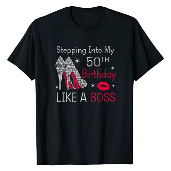 Birthday woman gift Graphic Tshirt 1 Stepping Into My 50th Birthday Like A Boss Funny T-Shirt