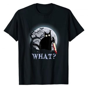 Cat What Funny Black Cat Tshirt Halloween Costume Graphic Tshirt 1 Cat What Murderous Black Cat With Knife Halloween Costume T-Shirt