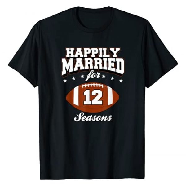 12th Anniversary Football Couple Shirts Graphic Tshirt 1 12 Years Wedding Anniversary T-Shirt Football Couple Gift