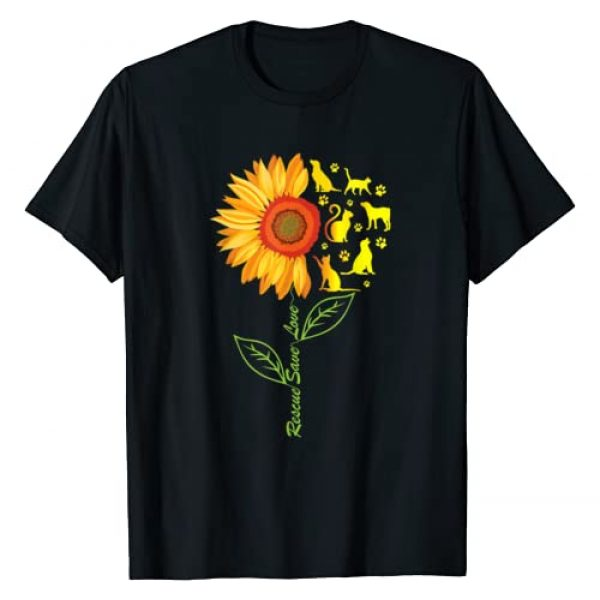 Dog-Cat Rescue Team Tee Shirts Graphic Tshirt 1 RESCUE SAVE LOVE PET Animal Shelter Sunflower Gift T Shirt