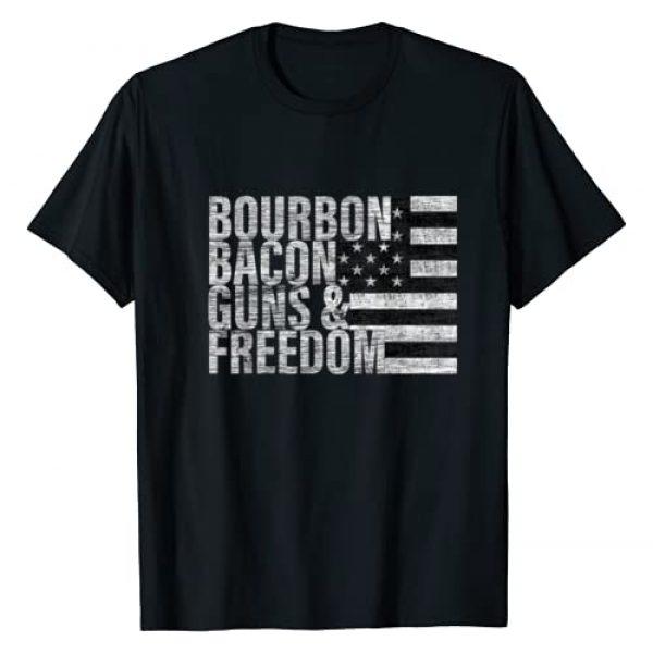 & Freedom Tees Graphic Tshirt 1 Bourbon Bacon Guns & Freedom T-shirt Flag Tee