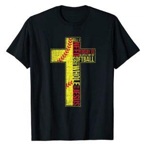 I Love Baseball & Softball Gear Graphic Tshirt 1 All I Need Is Softball & Jesus Christian Cross Faith T Shirt