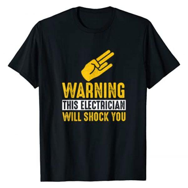 SHIRTSIDE Electrician Graphic Tshirt 1 Warning Electrician Will Shock You - Funny Electrician Shirt T-Shirt