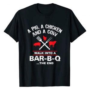 BBQ I'd Smoke That Tees Graphic Tshirt 1 A Pig Chicken Cow Walk Into A Bar Funny BBQ Grilling Shirt