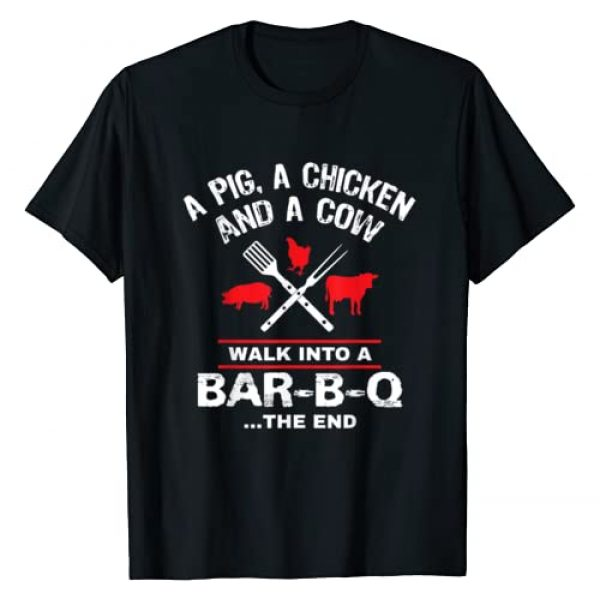 BBQ I'd Smoke That Tees Graphic Tshirt 1 A Pig Chicken Cow Walk Into A Bar Funny BBQ Grilling Shirt