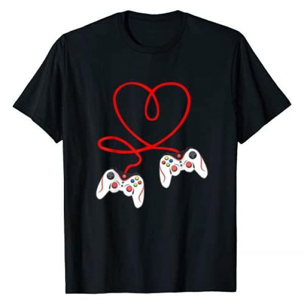 Heart Game Controllers Video Gamer Valentine's Day Graphic Tshirt 1 Heart Game Controllers Video Gamers Gaming Valentine's Day T-Shirt