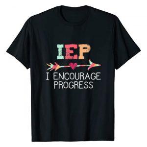 Special Education Teacher Tees - DressedForDuty Graphic Tshirt 1 IEP I Encourage Progress Special Education School Teacher T-Shirt