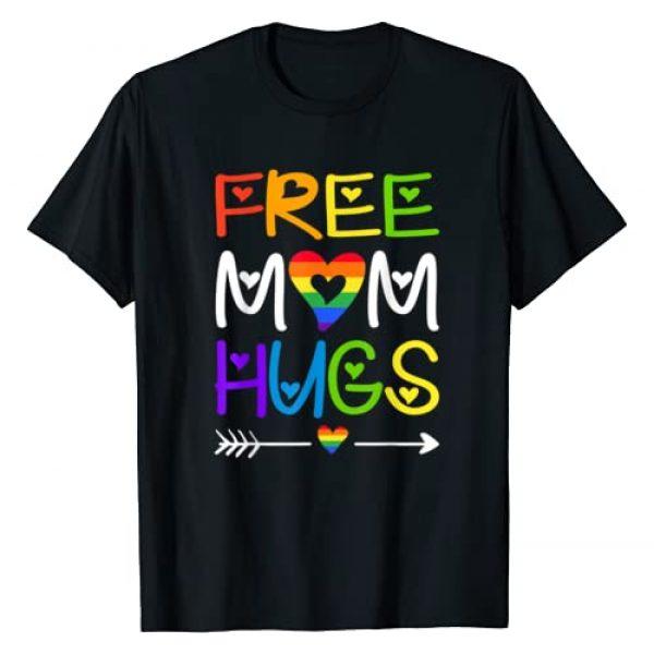 Free Mom Hugs Tshirt Rainbow Heart Graphic Tshirt 1 LGBT Pride Month T-Shirt