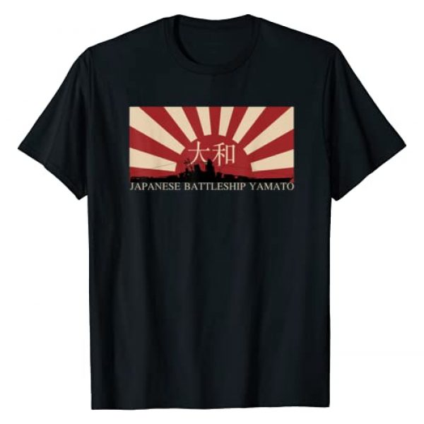 Japanese Battleships Flags Graphic Tshirt 1 Japanese Battleship Yamato Rising Sun Flag Gift T-Shirt