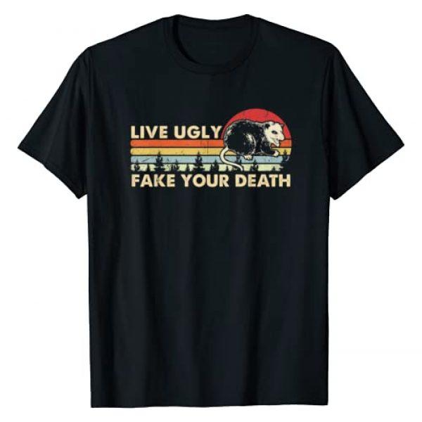 Funny Vintage Opossum Live Ugly Fake Your Death Graphic Tshirt 1 Funny Ugly Cat Vintage Live Ugly Fake Your Death Opossum T-Shirt