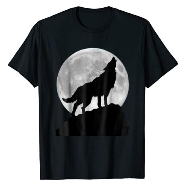 WOLF Graphic Tshirt 1 in moon light T Shirt - Cool full dog pup howling tee