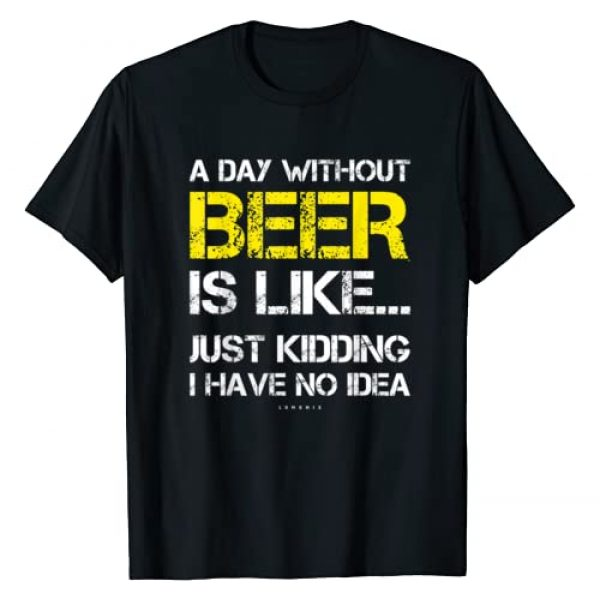 LUMOMIX Graphic Tshirt 1 A Day Without Beer - Funny Beer Lover Gift Tee Shirts T-Shirt