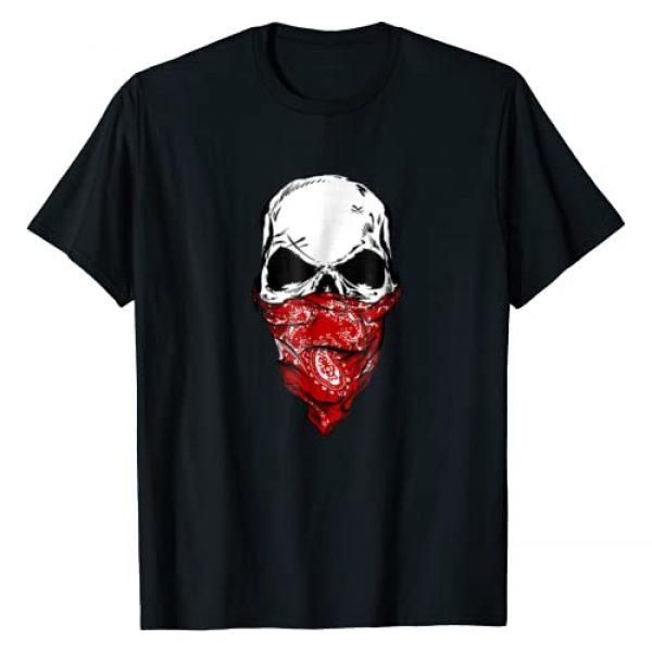 Skull Bandana Fearless Apparel Graphic Tshirt 1 Fearless Skeleton Skull Head Red Bandana Face Mask T-Shirt